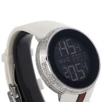 Gucci Diamond White Watch Mens Full Casing Ya114214 5 Row Custom Digital 3.5 CT.