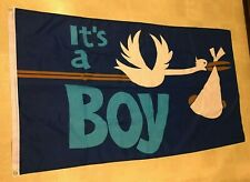 Stork & It'S A Boy 36x60 In Polyester Banner Flag Baby Comfort Care Set - Nwot
