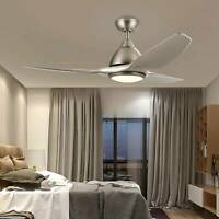 """52"""" Contemporary Ceiling Fan 3 Blades Brushed Nickel LED Light Remote Control"""