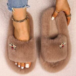 Winter Slippers Furry Slides Chic Insect Decor Fluffy Platform Pearl Slippers