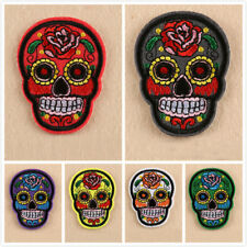 U.S. Seller New Embroidered Sugar Skull Biker Motorcycle Iron On/ Sew On PATCH