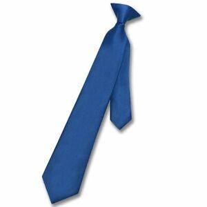 Vesuvio Napoli Boys CLIP-ON NeckTie Solid ROYAL BLUE Color Youth Neck Tie