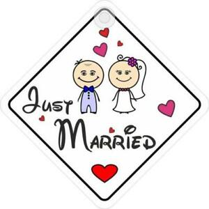 Just Married Window Sign Suction Cup Diamond