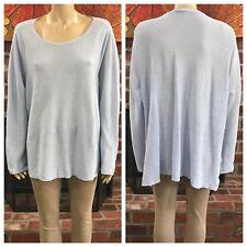 Eileen Fisher Blue Organic Linen Long Sleeve Top Plus Size 2X