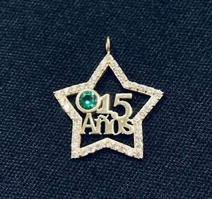 14k Yellow Gold 15 Years Old Star Pendant Charm