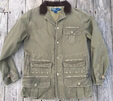 Polo Ralph Lauren Distressed Olive Khaki Canvas Field Hunting Jacket Size M Rare