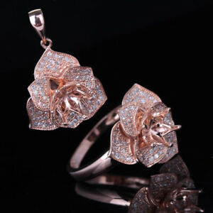 Solid 14K Rose Gold Round 6.5mm Flower Diamond Semi-Mount Ring and Pendant Set
