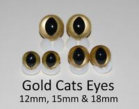 GOLD CATS EYES PLASTIC BACKS - Teddy Bear Making Soft Toy Doll Animal Craft