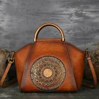 Women's Genuine Leather Handbags Ladies Retro Elegant Shoulder Bag Retro vintage