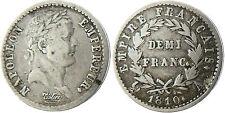 NAPOLEON  EMPEREUR  ,  1/2  FRANC  ARGENT  1810  A  PARIS