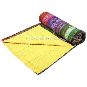 Indian Bedding Multi Patchwork Patola Silk Bedspread Coverlet Blanket Throw