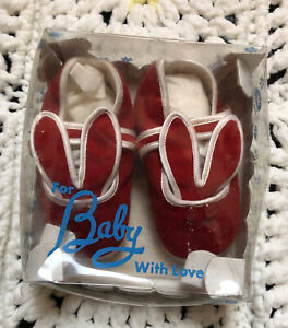 Vintage Toddletime JC Penny Red Bunny Infant Baby Shoes Size 0 New Org. Box