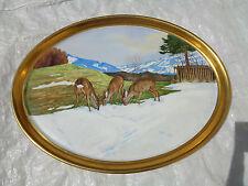 Platte Porzellan Bild Malerei H. Veith Winterlandschaft Rehe