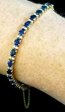 18k Ylw and Wht Gold Lady's Cast In-line Bracelet, Natural Diamonds & Sapphires