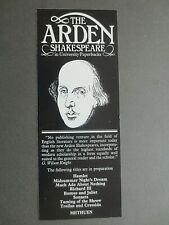BOOKMARK Willam Shakespeare METHUEN The Arden Shakespeare Book Promotional