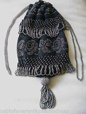 Antique Art Deco Black Crochet Steel Bead Roses Silver Drawstring Flapper Purse