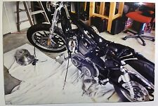 Vintage PHOTO Of A Custom Harley Davidson Motorcycle w/ Primary Cover Removed