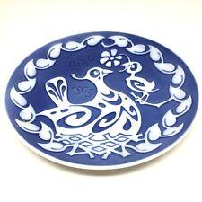 Royal Copenhagen Mors Dag Mothers Day Collector Plate 1975 Delft Blue Hen Chick
