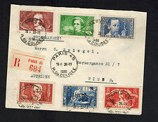 1936 paris  France Cover to Austria # B54-B59 Complete Set Intellectuals