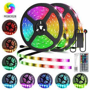 32.8ft/10m RGB LED Strip Light SMD 44 Key Remote 12v US DC Power Full Kit