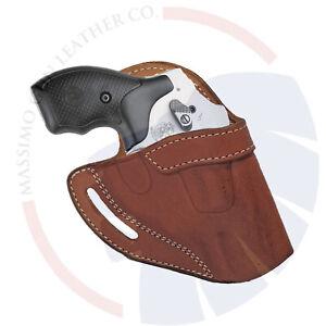"Ruger LCR Revolver_OWB Leather Gun Holster_S&W 2"" J Frame 36 60 442 642 340PD"