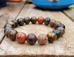 Earthing Bracelet Gaia Chrysocolla Bloodstone Unakite Therapeutic Gemstone