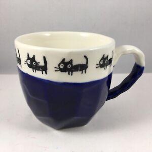 "Japanese Tea Cup Mug 3.25""H Ceramic Craft Rock Black Cats Blue Made In Japan"