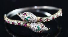 Turkish Handmade Jewelry Sterling Silver 925 Emerald & Ruby Bracelet Bangle Cuff