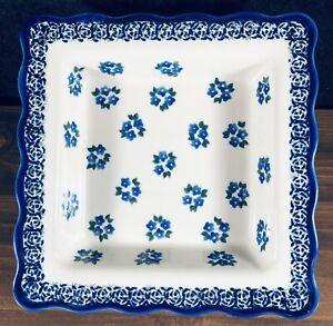 Boleslawiec Polish Pottery Square Serving Bowl Blue White Floral Forget-Me-Not