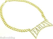 Hip Hop Urban Fashion Gold Chain Necklace & FEARLESS Crystal Bling Pendant