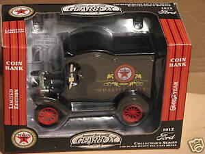 """1999 GEAR BOX TOY (TEXACO) 1912 FORD """"T"""" DIE-CAST BANK. NIB"""