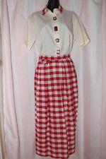 VTG Baseball Skirt Plaid Red White Shirt Buttons Earrings Carolyn Rothwell SM