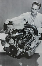 "12 By 18"" Black & White Picture about 1960 Chevrolet Corvair engine display"