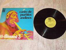 """INTI-ILLIMANI """"3 CANTO DE PUEBLOS ANDINO"""" LP DISCHI DELLO ZODIACO Ita 1975"""
