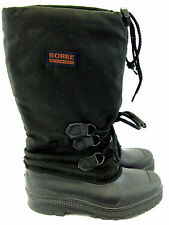 "Sorel Snow Lion Boots Womens 6 Rubber Canvas Black 13"" Insulated Wtrprf Canada"