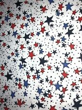 NEW COTTON Fabric 1/4yd=9inX44in PATRIOTIC RED BLUE STARS WHITE JULY 4 DIY MASK