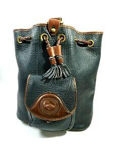Dooney Bourke Leather Shoulder Bag Handbag Purse All-Weather Bucket Black AS-IS