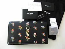 Saint Laurent AUTH NWT Monogram YSL Logo Prairie Flower Black Small Clutch Bag