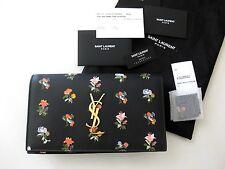 Saint Laurent AUTH NWT Monogram YSL Logo Prairie Flower Black Small Clutch Bag