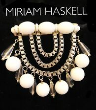 VTG MIRIAM HASKELL Milk Glass & Clear Glass BEADED BROOCH PIN - Silver Tone