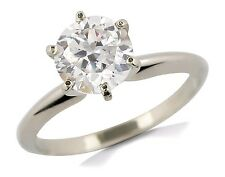 Women's 14k Solid White Gold 1.00 ct Simulated Diamond Solitaire Ring