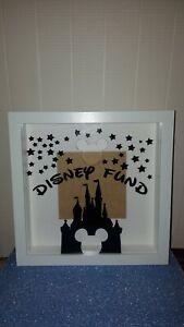 Disney Fund Vinyl Mickey Shaped Money Slot Box Perspex Frame