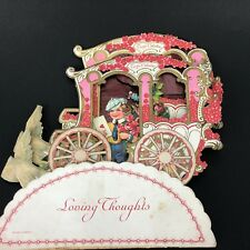 1920s Gorgeous Valentine Carriage Of Love Card Salvage As Is Tlc Vtg Antique