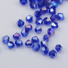 300pcs blue ab exquisite Glass Crystal 4mm #5301 Bicone Beads loose beads