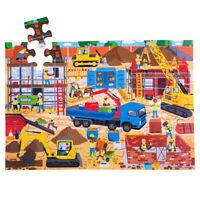 Bigjigs Toys Children's Wooden Construction Site Floor Jigsaw Puzzle (48 Piece)