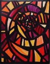 """Original Abstract Stained Glass Window Acrylic 10"""" x 8"""" Painting SARA LARSON"""