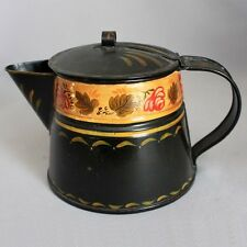 Antique Vtg OLD TOLEWARE TIN FOLK ART COFFEE POT Hand Made Tinsmith Hand Painted
