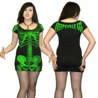 Kreepsville 666,skeleton dress/black with green skelly, alternative gothic wear