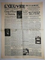 N1078 La Une Du Journal L'œuvre 19 juil 1936 mutinerie militaire, Sainte-Maxime
