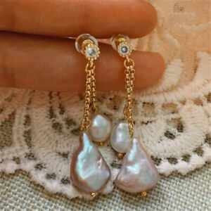 Natural Pearl gold Earrings eardrop 18K Chain girl Gift Holiday gifts New Year